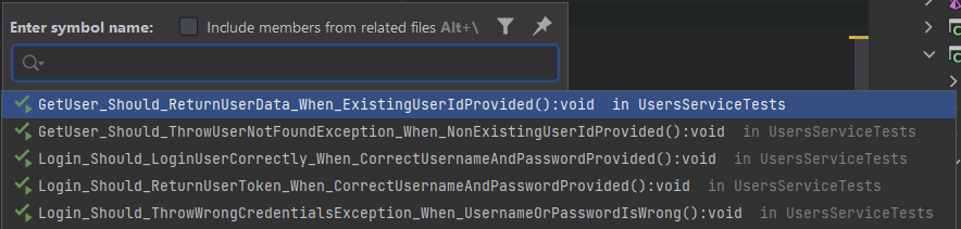 Quickly scanning well-named tests in a test class as in IDE