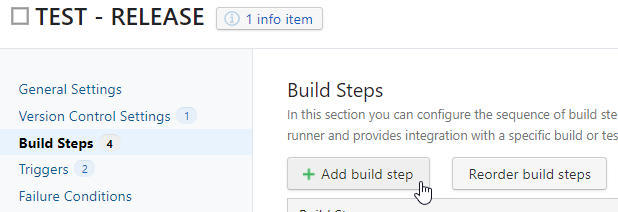 TeamCity - adding a new build step button