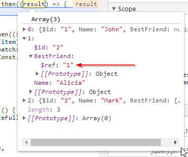 """JSON result from ASP.NET controller with $ref: """"1"""" instead of a real object. Example of JSON.NET circular references"""