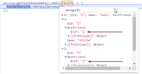 """JSON result from ASP.NET controller with $ref: """"1"""" instead of a real object"""