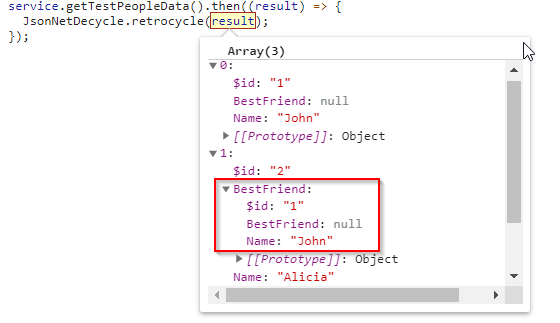 """JSON result from ASP.NET controller with $ref: """"1"""" replaced with a real object's content"""