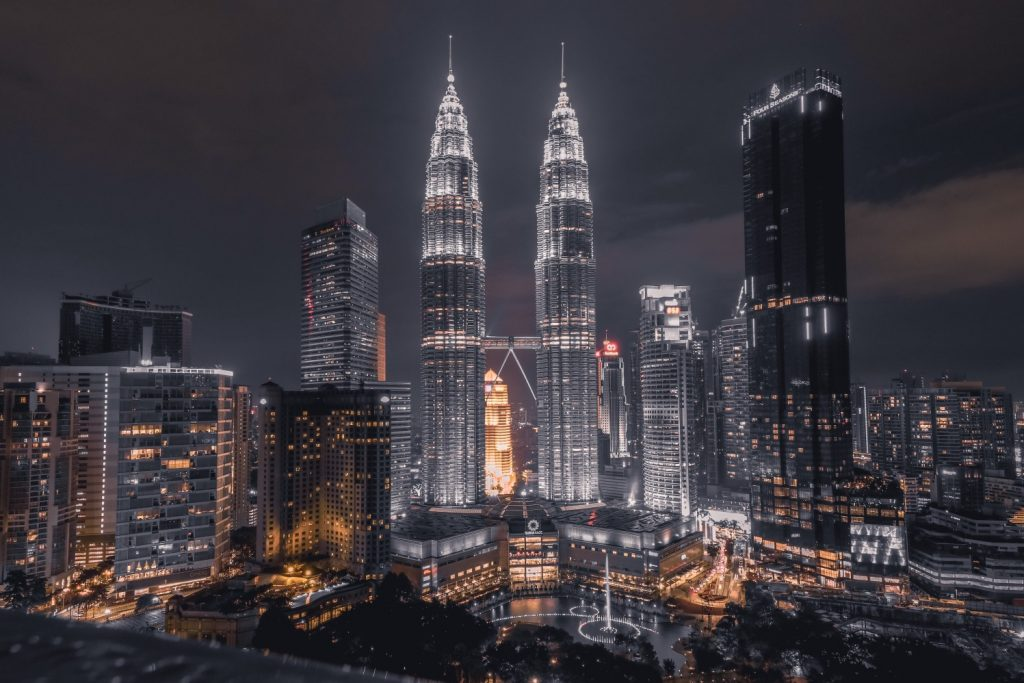 Kuala Lumpur, Malaysian capital at night with Petronas Twin Towers illuminated