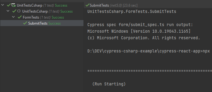 Run Cypress tests from NUnit - sample passed test in JetBrains Rider